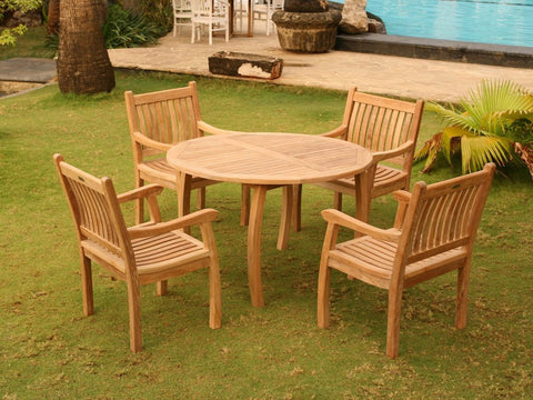 Jakarta 5 piece dining set in the grass with 48 inch table