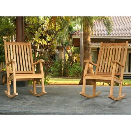 Jakarta teak rocking chairs side by side from tortuga outdoor