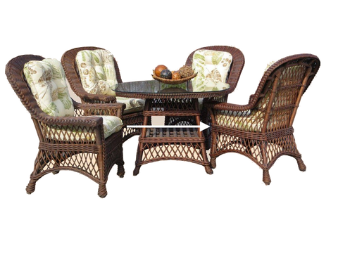 "Bar Harbor 5 Piece Dining Set with 42"" Glass Brownwash by Spice Islands Wicker-Spice Islands-Rattan Imports"