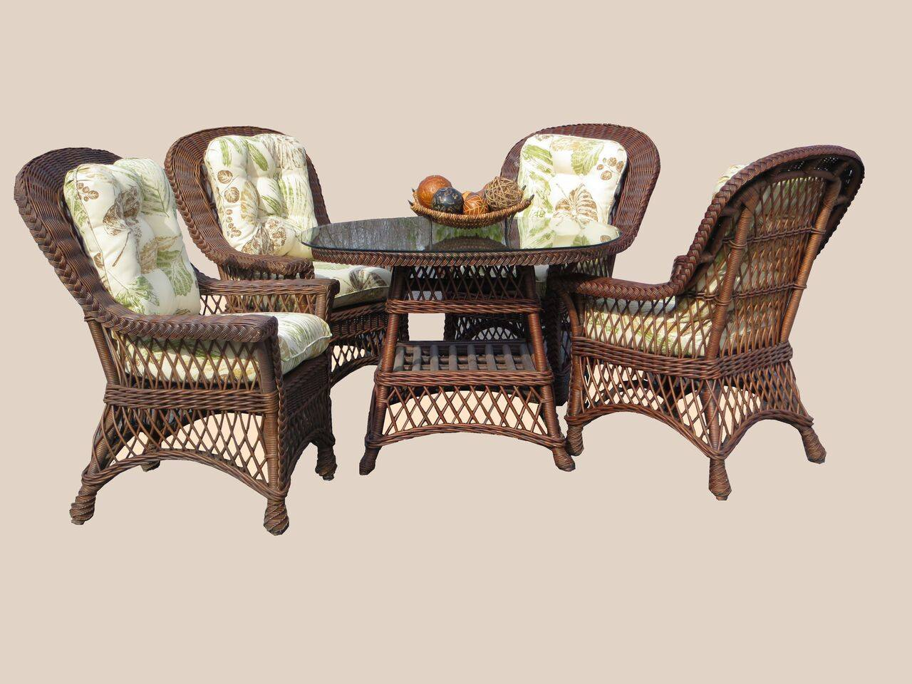 "Spice Islands Spice Islands Bar Harbor 5 Piece Dining Set With 48"" Glass Brownwash Dining Set - Rattan Imports"