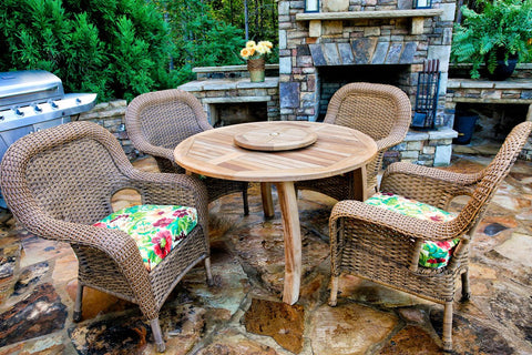 "Tortuga Outdoor Lexington 5 Piece Dining Set with  Teak Table 48"" Upgrade-Tortuga Outdoor-Rattan Imports"