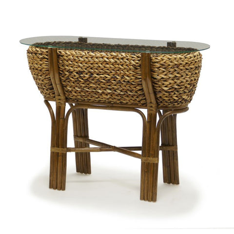 Sea Winds Trading Sea Winds Trading Maui Bowl Console Table B/GL53204-NAT Table - Rattan Imports
