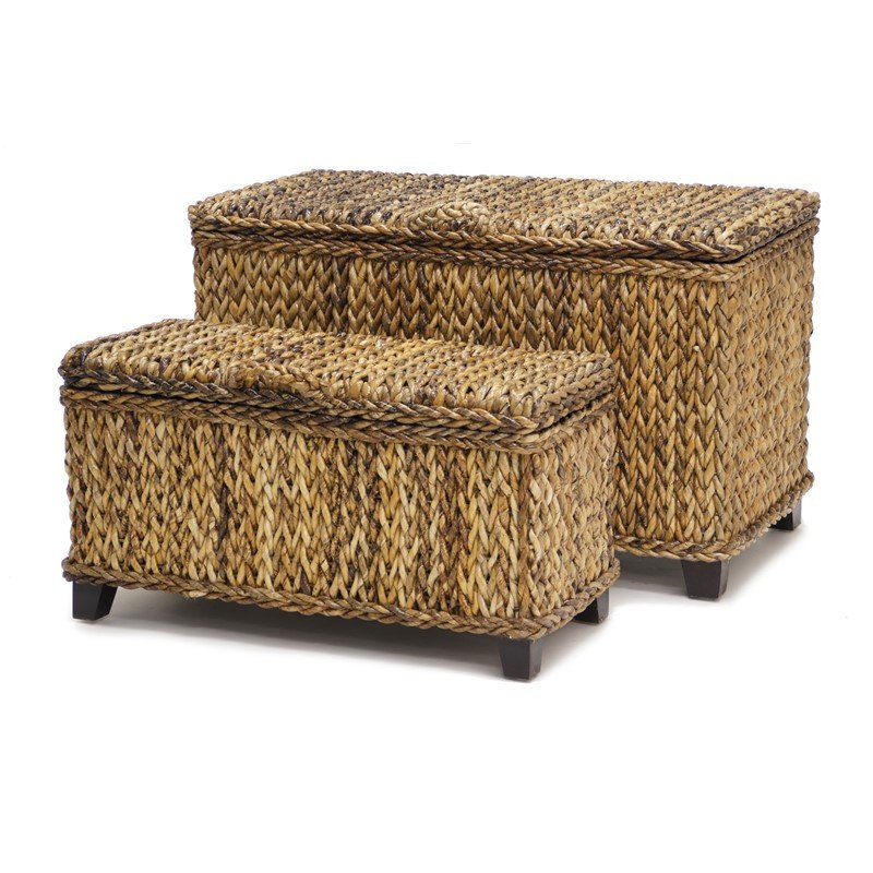 Sea Winds Trading Sea Winds Trading Maui Set of 2 Trunks Rectangular Storage Trunk - Rattan Imports