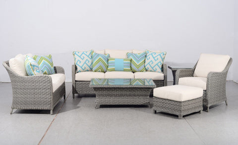 South Sea Rattan South Sea Rattan Mayfair 6-Piece Conversation Set with Poly-Top Tables Seating Set - Rattan Imports