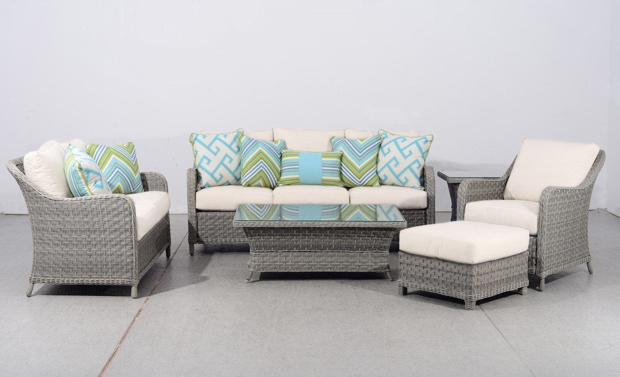 South Sea Rattan South Sea Rattan Mayfair 6-Piece Conversation Set with Glass-Top Tables Seating Set - Rattan Imports
