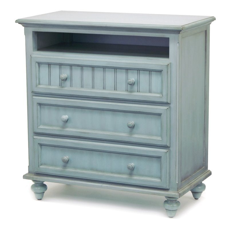 Sea Winds Trading Sea Winds Trading Monaco 3 Drawer Media Chest by Sea Winds Trading B81833-BLEU Dresser - Rattan Imports
