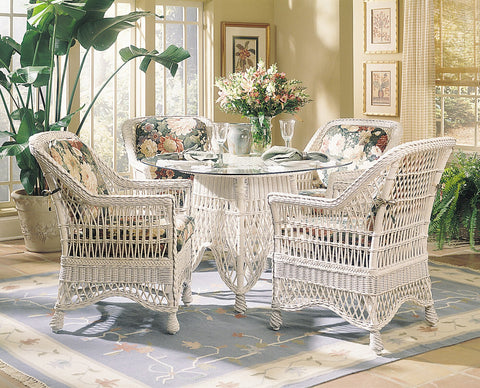 Designer Wicker & Rattan By Tribor Naples 5 Pieces Dining Set With Glass Top Dining Set - Rattan Imports