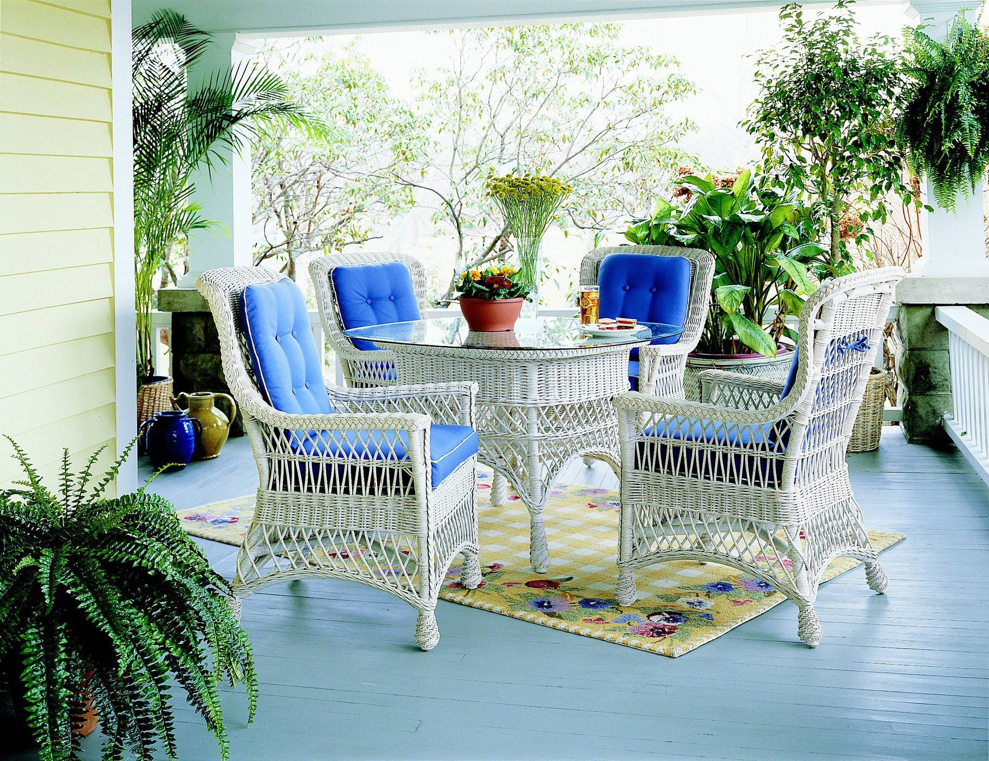 Designer Wicker & Rattan By Tribor Rockport 5 Piece Wicker Dining Set With Glass Top by Designer Wicker & Rattan by Tribor Dining Set - Rattan Imports
