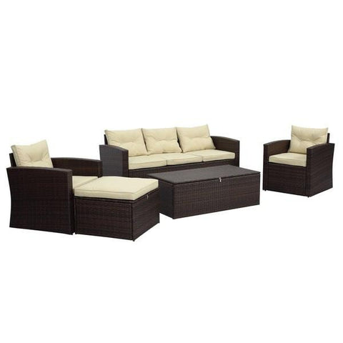 Rio 5-Piece Dark Brown All Weather Wicker Conversation set with Storage by Thy-HOM-Thy-HOM-Rattan Imports