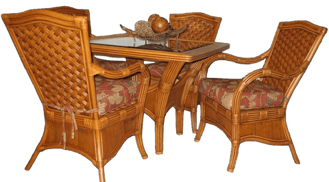 Spice Islands Spice Islands Kingston Reef Dining Table With Glass Cinnamon Dining Table - Rattan Imports