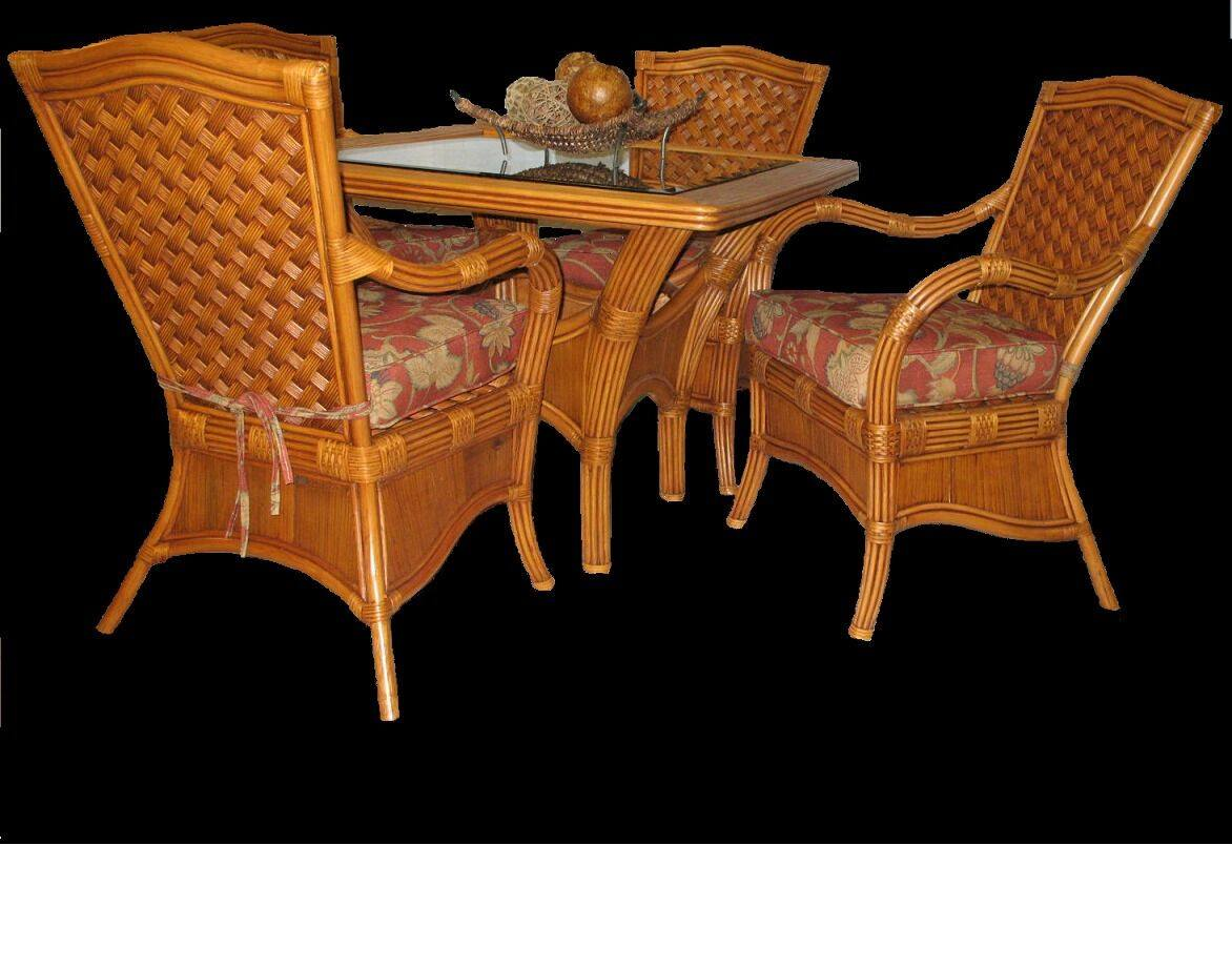 Spice Islands Kingston Reef Dining Table With Glass Cinnamon - Rattan Imports