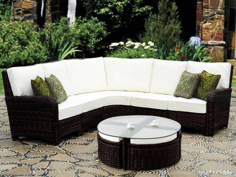 South Sea Rattan St. Tropez 6-Piece Wicker Sectional Set