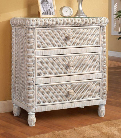 Sea Winds Trading - Santa Cruz 3 Drawer Chest w/ Glass Top -  -
