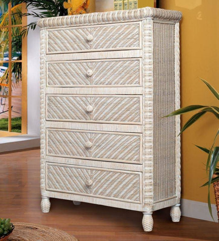 Sea Winds Trading - Santa Cruz 5 Drawer Chest w/ Glass Top -  -