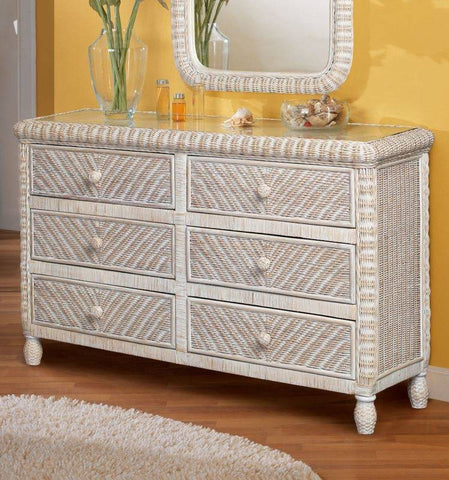Sea Winds Trading - Santa Cruz 6 Drawer Dresser w/ Glass Top -  -  - 1