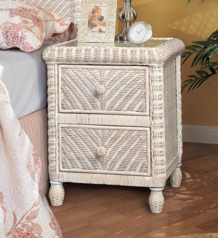 Sea Winds Trading - Santa Cruz 2 Drawer Nightstand w/ Glass Top -  -