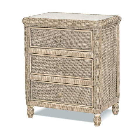 Sea Winds Trading Sea Winds Trading Santa Cruz 3 Drawer Chest w/ Glass Top B57933-Frappe Dresser - Rattan Imports