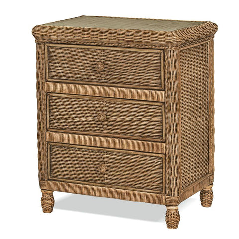 Sea Winds Trading Santa Cruz 3 Drawer Chest w/ Glass Top B57933-Jacobean