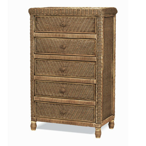 Sea Winds Trading Santa Cruz 5 Drawer Chest w/ Glass Top B57935-Jacobean