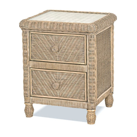 Sea Winds Trading Santa Cruz 2 Drawer Nightstand w/ Glass Top Frappe Finish B57932-Frappe
