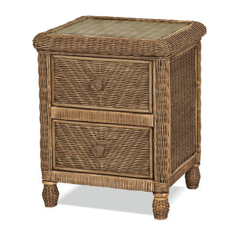 Sea Winds Trading Santa Cruz 2 Drawer Nightstand w/ Glass Top Jacobean Finish B57932-Jacobean