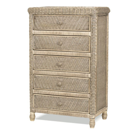 Sea Winds Trading Sea Winds Trading Santa Cruz 5 Drawer Chest w/ Glass Top B57935-Frappe Dresser - Rattan Imports