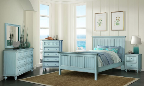 Sea Winds Trading Sea Winds Trading Monaco King Bed by Sea Winds Trading B818KBED-BLEU Bed - Rattan Imports