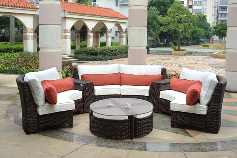 South Sea Rattan South Sea Rattan St. Tropez 6-Piece Curved Sectional Set with Sushi Table Sectional Set - Rattan Imports