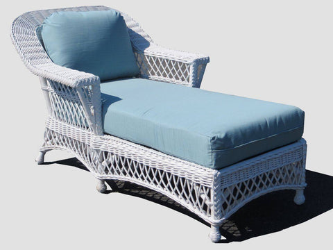 Spice Islands - BAR HARBOR CHAISE LOUNGE  WHITE durable island wicker tropical patio - rattan