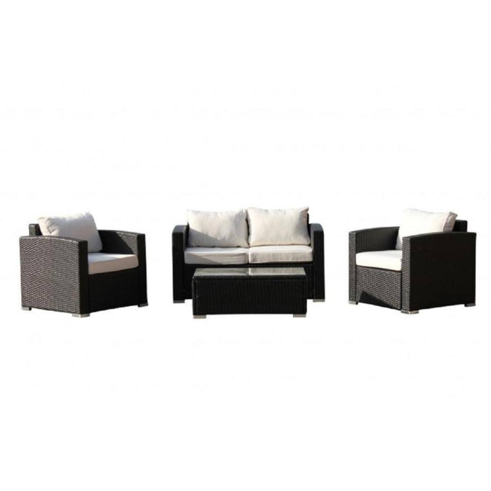 Vomo 4 Pieces Outdoor Wicker Conversation Set