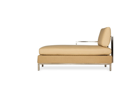 Lloyd Flanders Lloyd Flanders Elements Right Arm Chaise With Stainless Steel Arms & Back Chaise - Rattan Imports