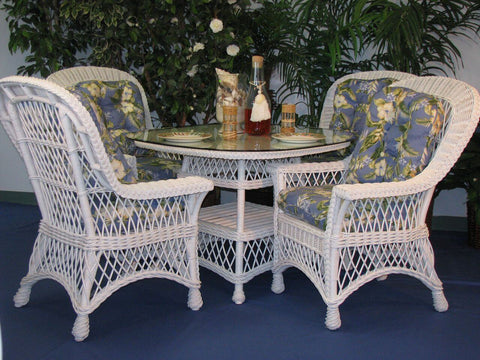 "Spice Islands - BAR HARBOR 5 PIECE DINING SET WITH 42"" GLASS WHITE - Rattan key west tropical island interior patio furniture"