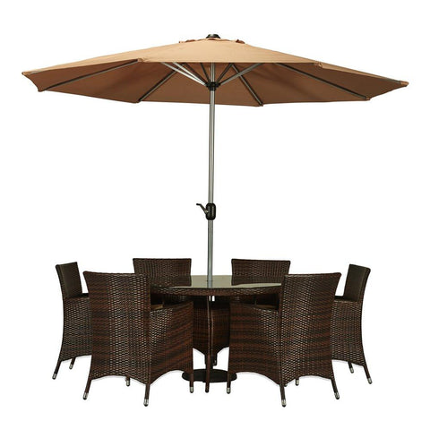 Thy-HOM Caso 8-Piece All-Weather Wicker Dining Set Espresso Brown With Beige Umbrella and Pillows by Thy HOM Thy-HOM Patio Dining Sets - Rattan Imports