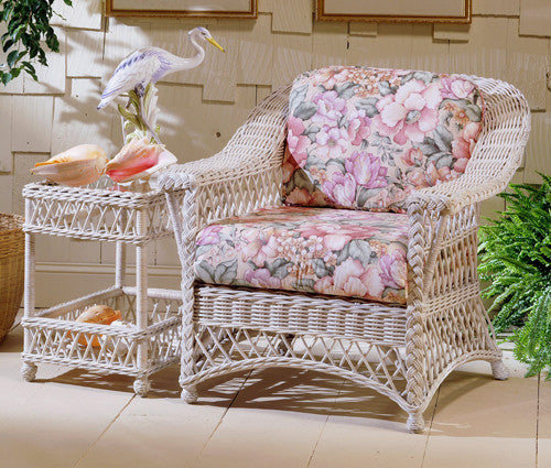 Spice Islands - BAR HARBOR ARM CHAIR WHITEWASH - tropical patio beach rattan wicker