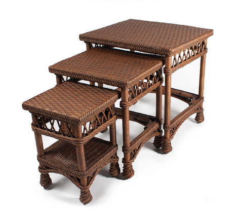 Designer Wicker & Rattan By Tribor Bar Harbor Nesting Tables / 3 Accessory - Rattan Imports