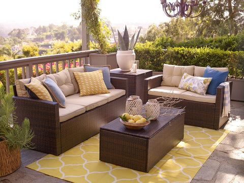 Rio 5 Piece Dark Brown All Weather Wicker Conversation set with Storage by Thy-HOM-Thy-HOM-Rattan Imports
