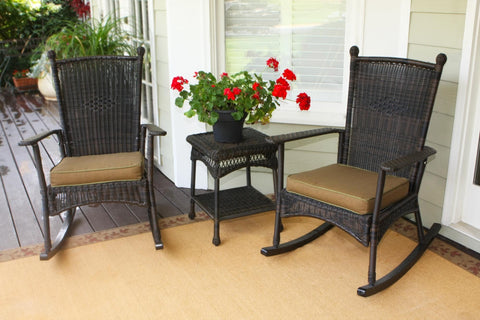 Portside classic rocker chairs with table between in dark roast wicker