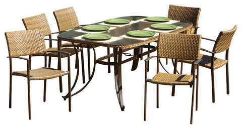 Tortuga Outdoor Tortuga Outdoor Maracay 7-Piece Dining Set (rectangular dining table, 6 chairs) Dining Set - Rattan Imports