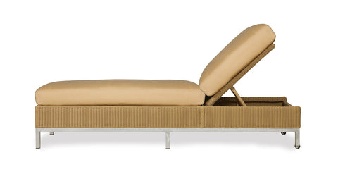 Lloyd Flanders Lloyd Flanders Elements Chaise With Stainless Steel Arms & Back Chaise - Rattan Imports