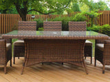 South Sea Rattan Del Ray 7-Piece Rectangular Dining Table Set