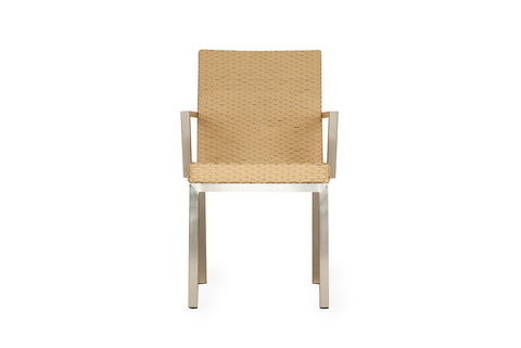 Lloyd Flanders Lloyd Flanders Elements Dining Chair With Stainless Steel Arms Dining Chair - Rattan Imports
