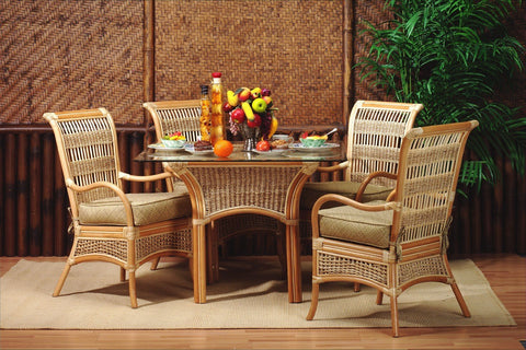 Spice Islands Spice Island Dining Table (With Glass) Natural Dining Table - Rattan Imports