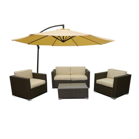 Thy-HOM Cane Garden 5 Pieces Outdoor Wicker Conversation Set - Natural Rustic Light Brown Conversation Set - Rattan Imports