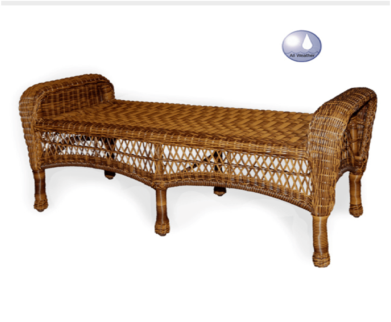Charles Schober Resin Alum Bench - With Cushion  - Rattan Imports