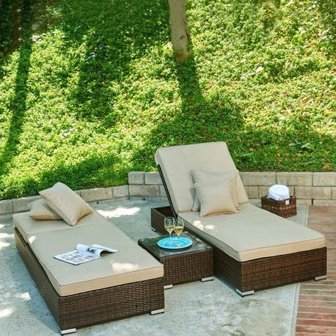 Thy-HOM - Lantis 3-Piece All-Weather Wicker Pool Side Lounge Set -  - Conversation Set