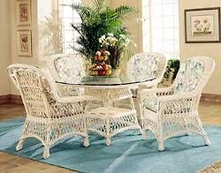 "Spice Islands - BAR HARBOR 5 PIECE DINING SET WITH 42"" GLASS WHITEWASH -  -"