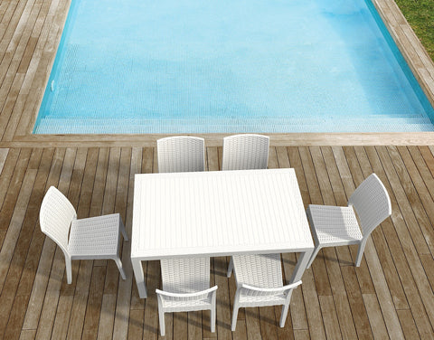 Compamia - Siesta California Wickerlook Rectangle Dining Set 7 Piece White -  -