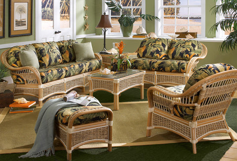Spice Islands Wicker Islander 6 Piece Rattan Living Sun Room Seating Set