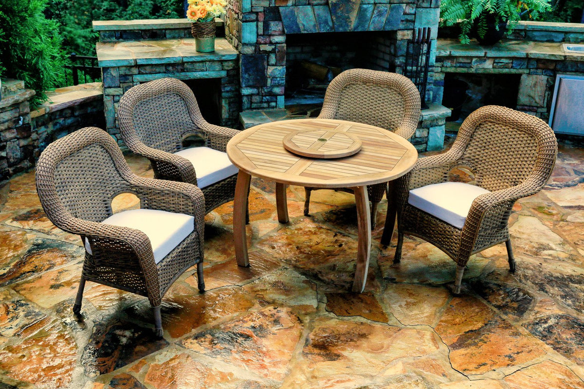 "Tortuga Outdoor Tortuga Outdoor Sea Pines 5 Piece Dining Set with  Teak Table 48"" Upgrade Dining Set - Rattan Imports"