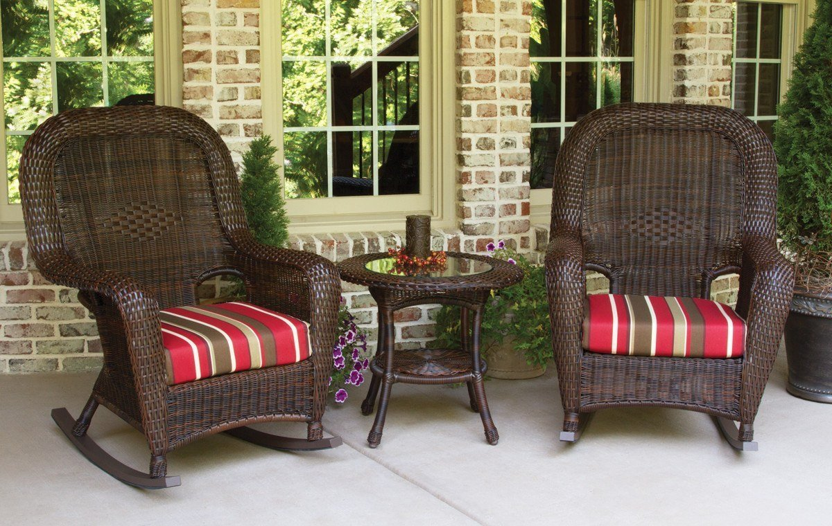 Tortuga Outdoor Tortuga Outdoor Sea Pines 3 Piece Rocker & Table Set Rocking Chair Set - Rattan Imports